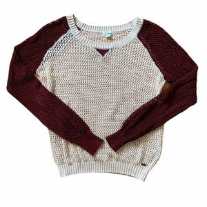 Women's Open Knit Burgundy White Pullover Sweater Small